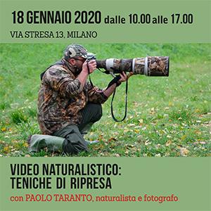Locandina Video naturalistico - teniche di ripresa Paolo Taranto 300x300 pixel