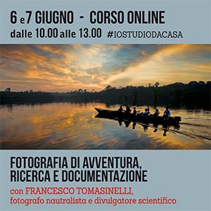 Locandina Corso Fotografia di avventura, ricerca e documentazione con Tomasinelli Online 300x300 pixel
