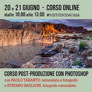 Locandina corso Post-produzione con Photoshop Online 300x300 pixel